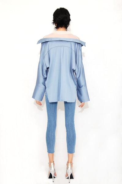 Inner layered oversized blouse Blue