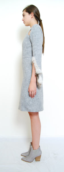 Fur Trimmed Wide Sleeve Dress