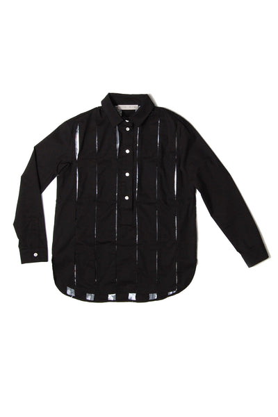 Pleated-stripe Midi Shirt _ Black (2 colors)