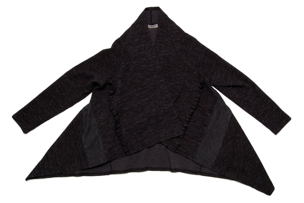 Frill trimmed jersey knit cardigan