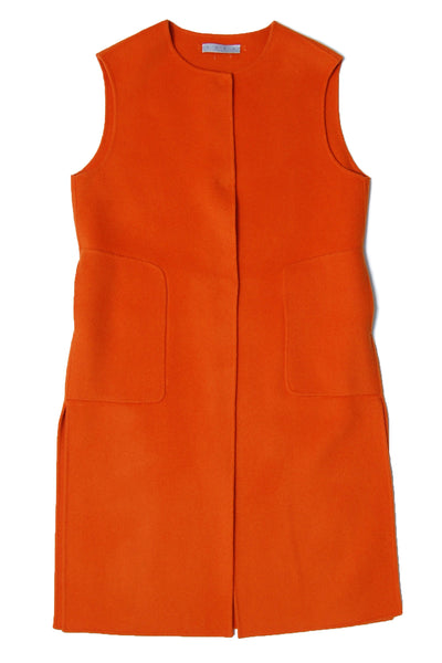 Side slit midi wool vest