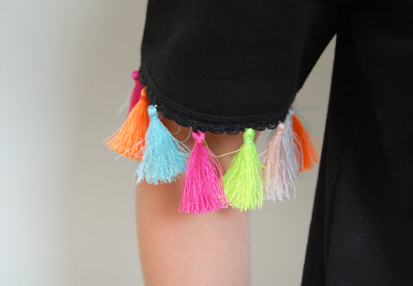 Multicolored Tassels Boxy Shirt _Black