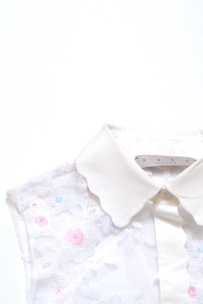 See-through Scallop Collar Shirt_ Color blocked (2 colors)