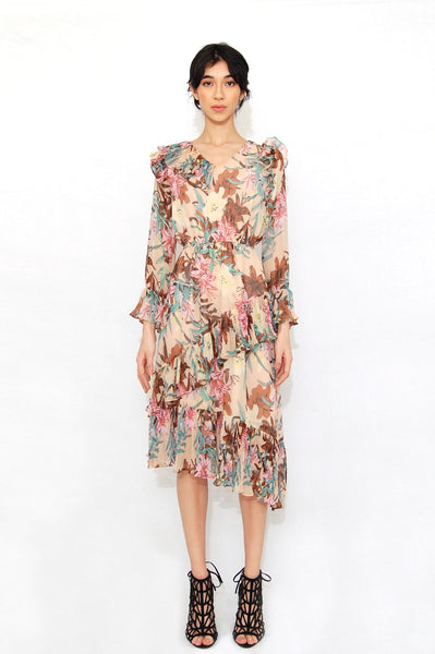 V-neck flower printed dress Light pink