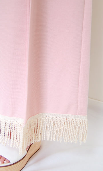 Long Slits Knit Fringe Dress