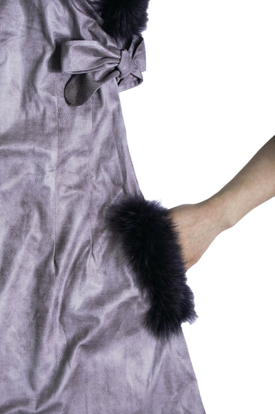 Side Tied Up Fur Trimmed Dress