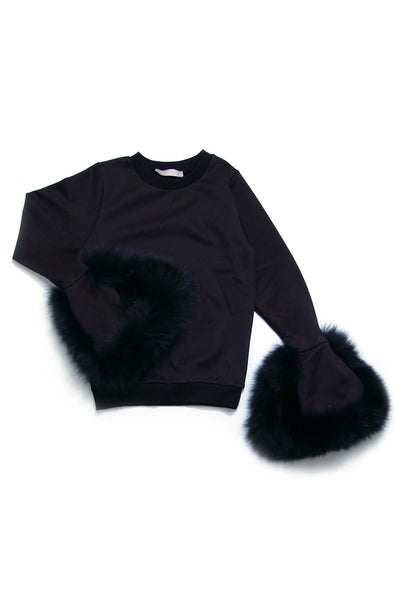 Fur Trimmed Wide Cuffs Top _ Black (2 colors)