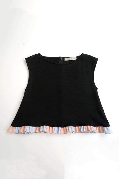 Color Blocked Frill-edge Top