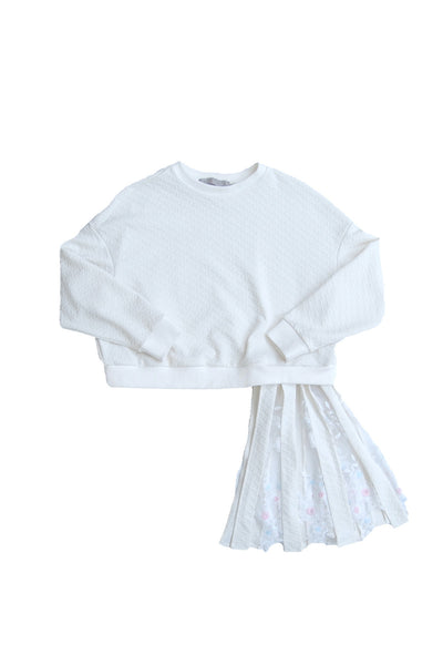 Pleat-skirt Linked Sweatshirt _Ivory (4 colors)
