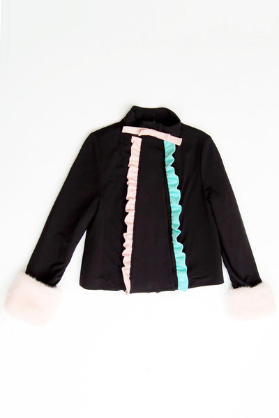 Frill-detailed High-neck Coat