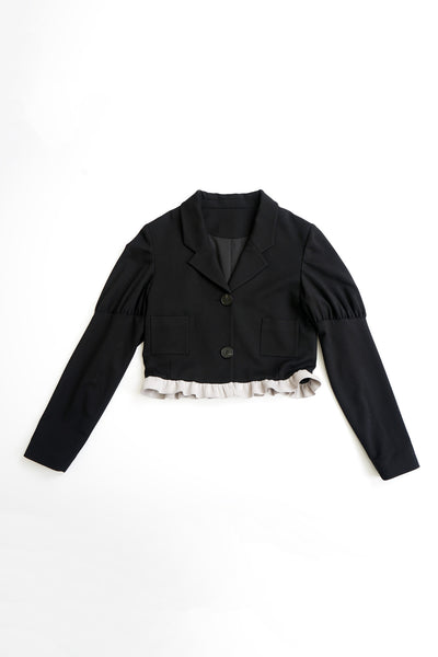 Frill-edge Short Wool Jacket