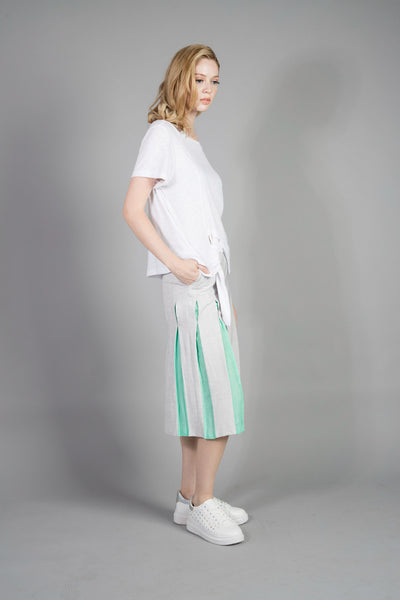 Pleated-stripe Wide Pants