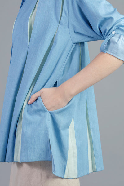 Pleated Midi Slit Shirt