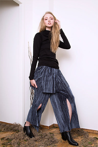 Two Layered Wide Slit Pants