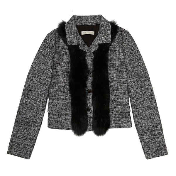 Fur Trimmed Short Wool Jacket