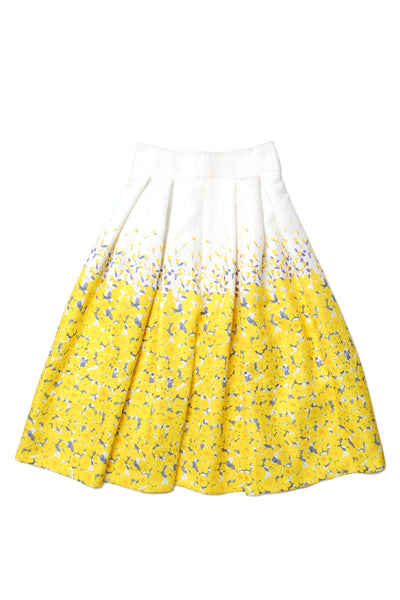 Flower print pleated volume skirt