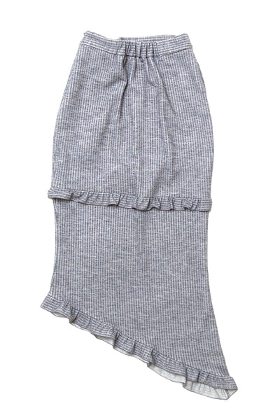 Frill detail unbalanced jersey skirt