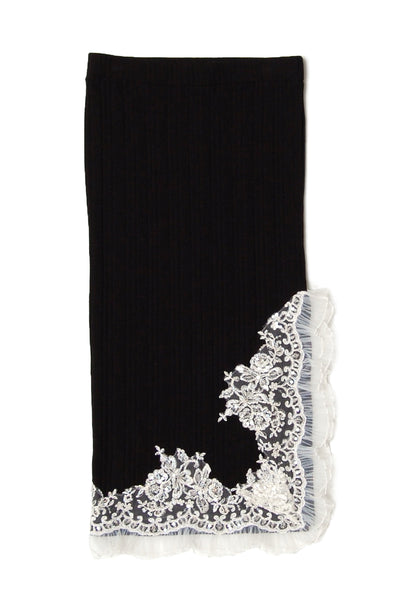 Lace trimmed knit midi skirt