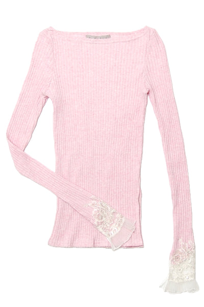 Lace trimmed sleeve knit top