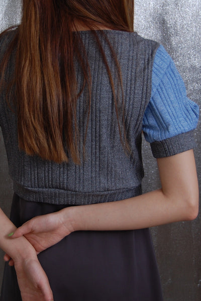 Bubbled Sleeve Crop Top _ Blue and grey (2 colors)