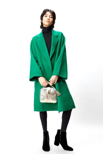 Long classic wool green coat