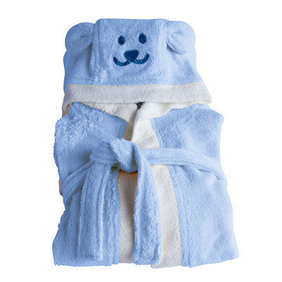 ORGANIC BAMBOO Hooded Toddler Bathrobe - blue