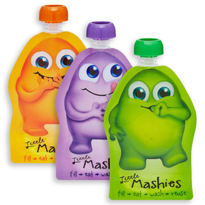 LITTLE MASHIES Reusable Squeeze Pouch Pack of 10 - Mixed