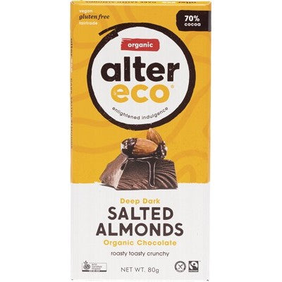 ALTER ECO Chocolate Dark Salted Almonds - 80g