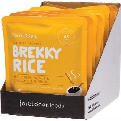FORBIDDEN Brekky Rice Black Rice Honey & Cinnamon 10 x 125g (box only)