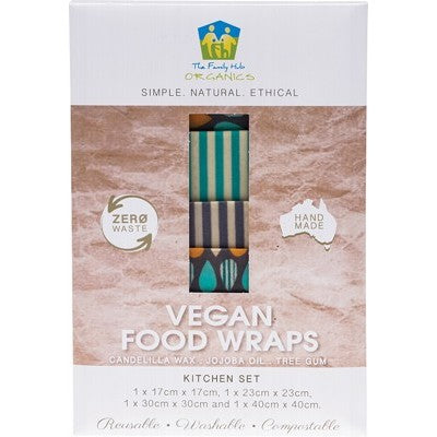 THE FAMILY HUB ORGANICS Vegan Food Wraps - Kitchen Set x 4 wraps