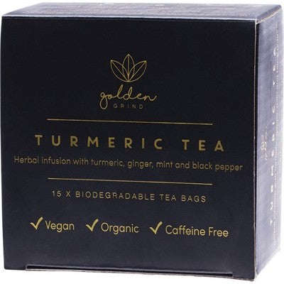 GOLDEN GRIND Turmeric Tea Biodegradable Tea Bags 15