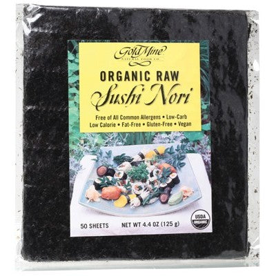 GOLD MINE Organic Raw Sushi Nori (Pack of 50 Sheets) 125g