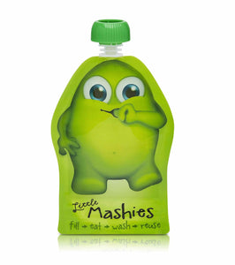 LITTLE MASHIES Reusable Squeeze Pouch Pack of 2 - Green