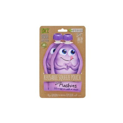 LITTLE MASHIES Reusable Squeeze Pouch Pack of 2 - Purple
