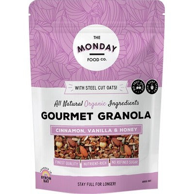 THE MONDAY FOOD CO. Gourmet Granola Cinnamon, Vanilla & Honey 800g