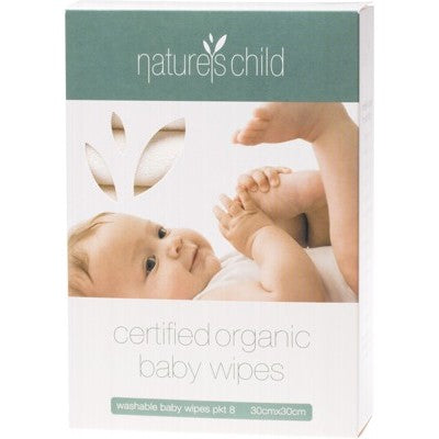 NATURE'S CHILD Baby Wipes Organic Cotton Cloth - Box of 8