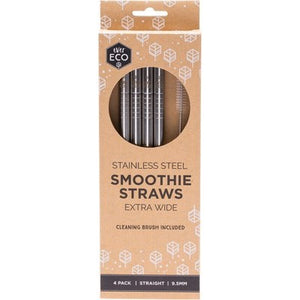 EVER ECO Stainless Steel Straws- Straight Smoothie Straws (Extra Wide) 4 Pack