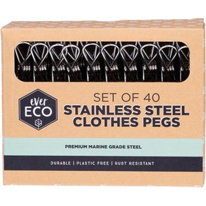 EVER ECO Stainless Steel Clothes Pegs Premium Marine Grade - 40 Pack