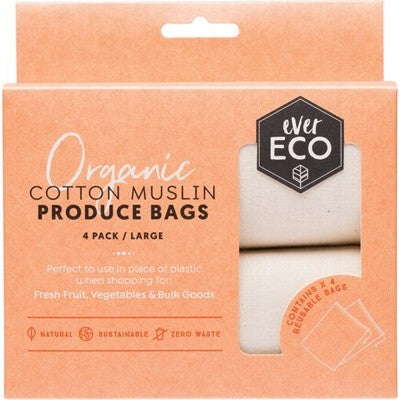 EVER ECO Reusable Produce Bags Organic Cotton Muslin - 4 pack