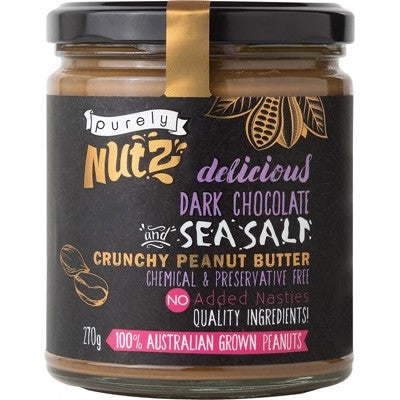 PURELY NUTZ Peanut Butter Crunchy - Chocolate and Sea Salt 270g