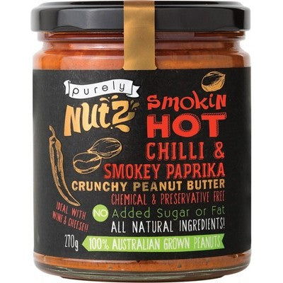 PURELY NUTZ Peanut Butter Crunchy - Hot Chilli & Paprika 270g