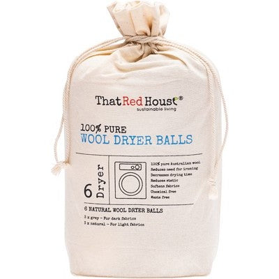 THAT RED HOUSE Wool Dryer Balls 100% Pure - 6