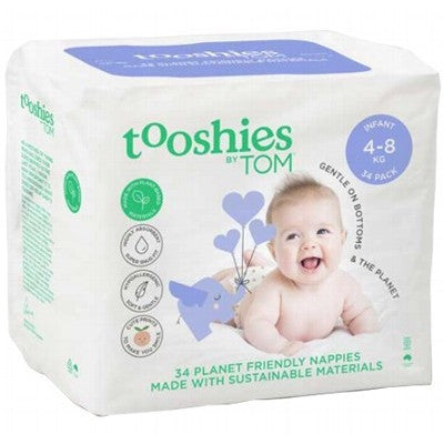 TOM ORGANIC Tooshies Nappies - 4-8KG Infant x 34