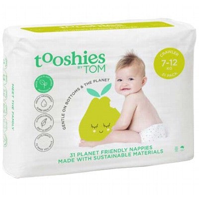 TOM ORGANIC Tooshies Nappies - 7-12 KG - Crawler x 31