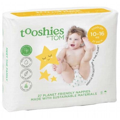 TOM ORGANIC Tooshies Nappies - 10-16KG Toddler x 27