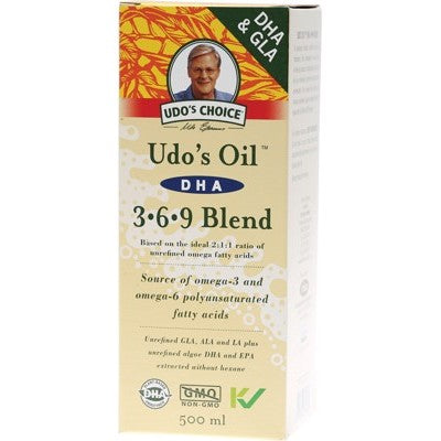 UDO'S CHOICE DHA 3.6.9 Omega Oil Blend 500ml - Suitable for Vegetarians