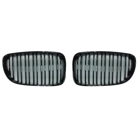 Gloss Black Dual Slat Grills 07-13 For BMW 1 Series E81 E82 E87 E88