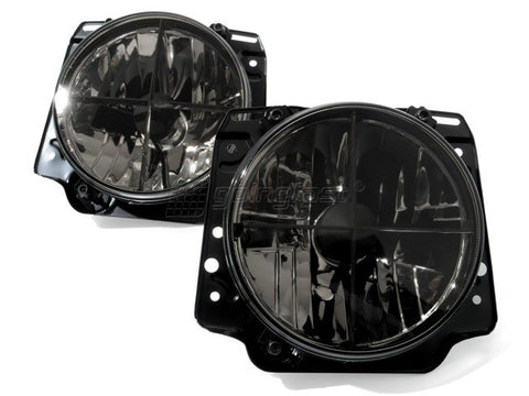 VW Rabbit MK1 / Golf Headlights Clear Black w/ Cross Hair