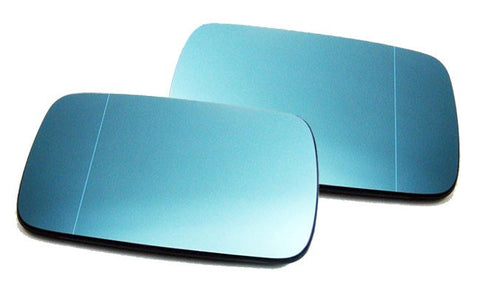 BMW E46 2D Euro Mirror Glasses Blue Heated Aspheric / Convex