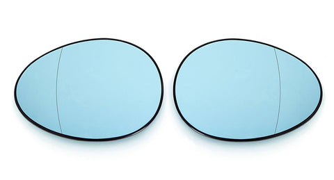 Mini MK2 R55/R56/R57/R58/R59/R60/R61 Euro Mirror Glasses Blue Heated Aspheric / Convex